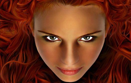 Обои Недоверчивый взгляд девушки с рыжими волосами