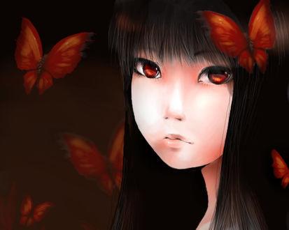 Обои Девушка восточной внешности с темными волосами и желтыми глазами в окружении красных бабочек