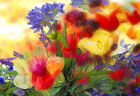 Обои Компьютерная графика разнообразных и разноцветных цветов