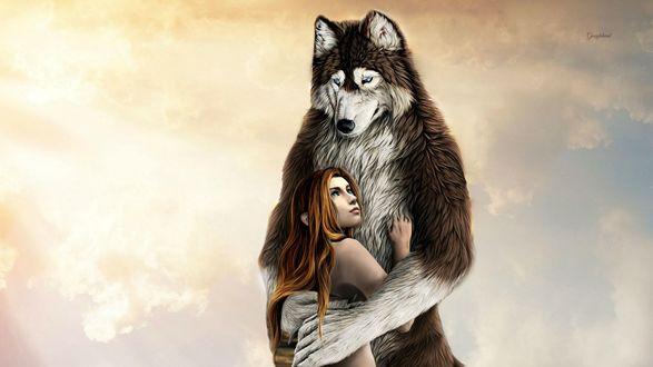 Обои Огромный голубоглазый волк с нежностью прижимает к себе девочку с рыжими волосами, Googlegend