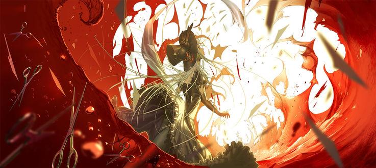 Обои Пепельноволосая девушка среди потоков крови, art by sumiobunnya