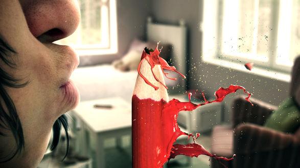 Обои Ожившие рисунки. Девушка сдувает краску с карандаша, работа бразильского фотохудожника Tullius Heuer