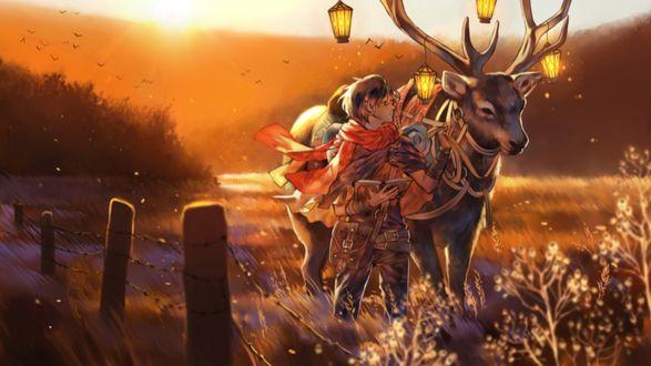 Обои Девушка в очках и с книгой в руках, ведет на поводу оленя с развешанными и зажженными фонарями на рогах