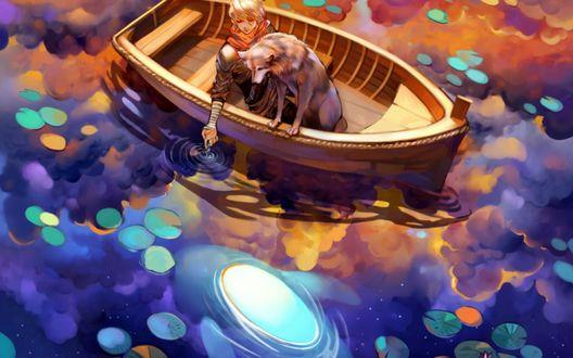 Обои Мальчик, сидя в лодке с собакой, опустил палец руки в воду