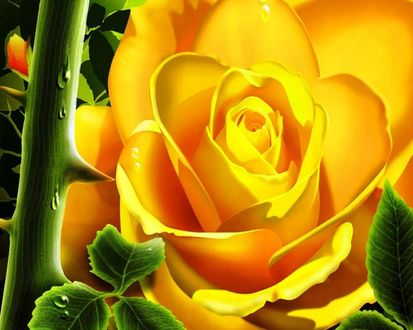 Обои Желтая роза с колючей веткой и зелеными листьями
