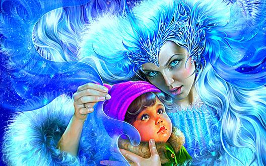 Обои Снежная Королева прижала к себе мальчика Кая из одноименной сказки Снежная Королева