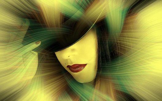Обои Лицо девушки с рукой, в широкополой черной шляпе посреди абстрактного поля из линий