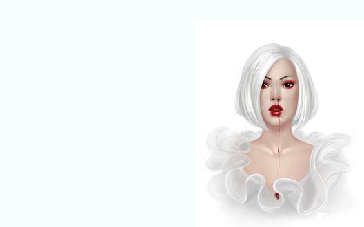 Обои У блондинки с белыми волосами кровь капает с носа прямо на белое платье