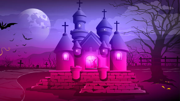 Обои Православная каменная церковь с крестами на куполах, со светом в окнах, с силуэтом колдуньи в окне, с кладбищем на заднем дворе, с летающими летучими мышами, в ночь на Хэллоуин