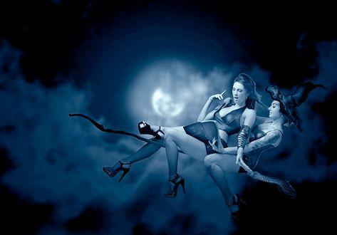 Обои Ведьма на метле везет по облачному ночному небу с Луной девушку и они читают книгу