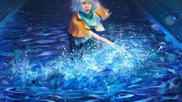 Обои Девушка идет по воде и поднимает рукой кучи брызг, аниме: Последняя фантазия, deviantart
