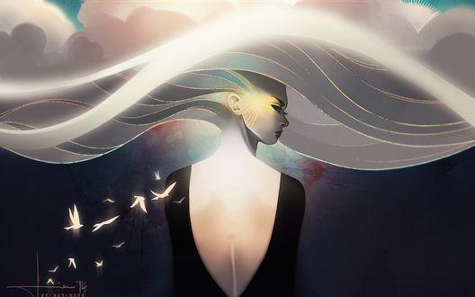 Обои Девушка сидит с вырезом на черном платье, в огромной шляпе с ее белых волос, к ней летят светящиеся птицы