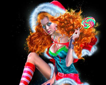 Обои Рыжеволосая зеленоглазая девушка в костюме Санта Клауса, с леденцом на палочке в руке