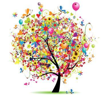 Обои Дерево с кроной из цветов, сердечек, бабочек, стрекоз, воздушных шариков