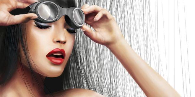 Обои Девушка закрыв глаза, открыв рот, снимает очки для плаванья