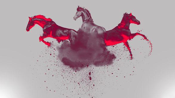 Обои Две красные и одна черная лошади выскакивают из дымчатого облака из краски