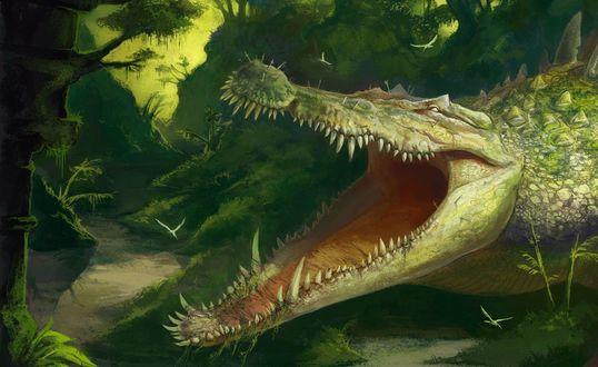 Обои Громадный зеленый крокодил, весь утыканный торчащими в его теле мечами, открыл пасть усеянную множеством острых зубов