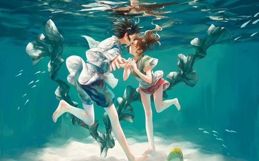 Обои Тихиро Огино / Chihiro Ogino и Хаку / Haku под водой из аниме Унесенные призраками / Sen to Chihiro no kamikakushi, художник Turtlequeen