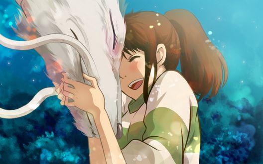 Обои Тихиро Огино / Chihiro Ogino и Хаку / Haku в воплощении дракона из аниме Унесенные призраками / Sen to Chihiro no kamikakushi, художник Turtlequeen