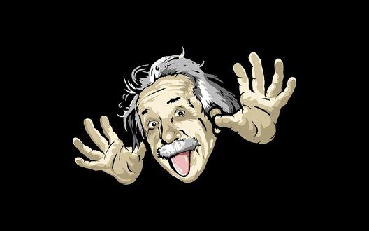 Обои Альберт Эйнштейн показывает руки и язык