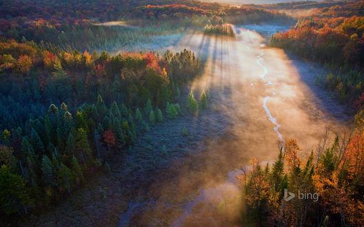 Обои Солнечные, утренние лучи осветили холмистую местность, покрытую деревьями местами с осенней листвой, проходящим по ней ручьем, туманной дымкой, поднимающейся от земли (bing)