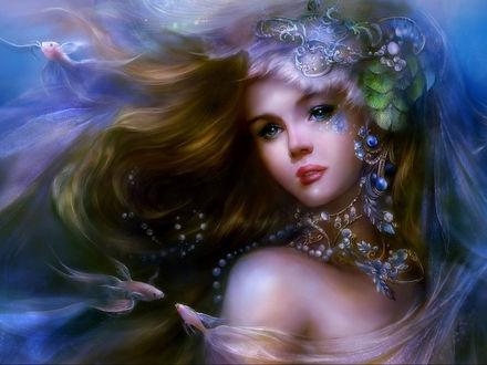 Обои Девушка русалка в украшениях и с чешуей на щеке под водой, среди плавающих рыбок
