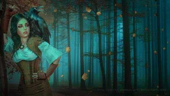 Обои Девушка с вороном на плече стоит в туманном лесу под падающими осенними листьями, by shiny shadows