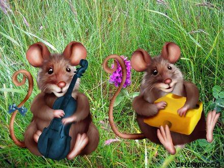 Обои Две мыши сидят на траве, у одной в лапках скрипка, у другой кусок сыра, GREENFROGGY1