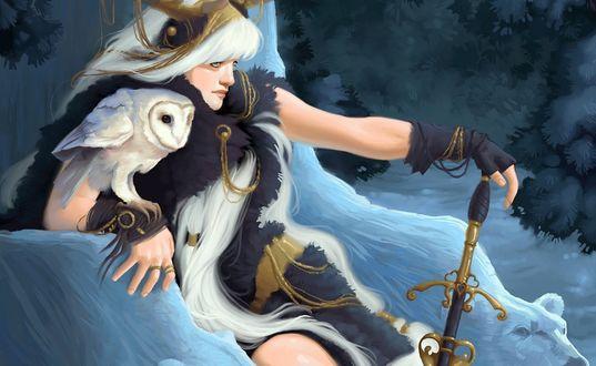 Обои Королева блондинка сидит с мечом в руке на ледяном троне, в форме белых медведей, на руке у нее сидит белая полярная сова