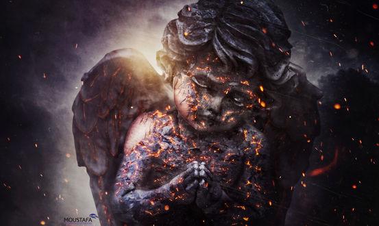 Обои Скульптура ангела в искрах огня