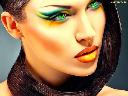 Обои Девушка с красивым макияжем и волосами обвитыми вокруг шеи, MAXTAPETY. PL