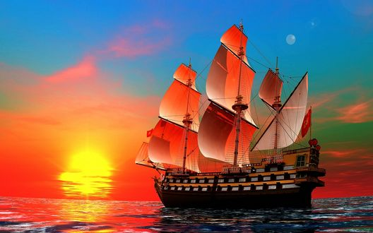 сказочный корабль с парусами бесплатно