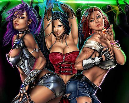 Обои Три знойные девицы в завлекающем танце