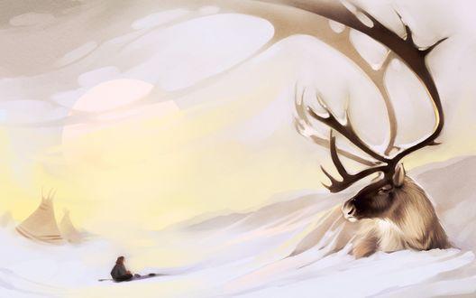 Обои Человек сидящий на снегу смотрит на лежащего рядом оленя с большими рогами