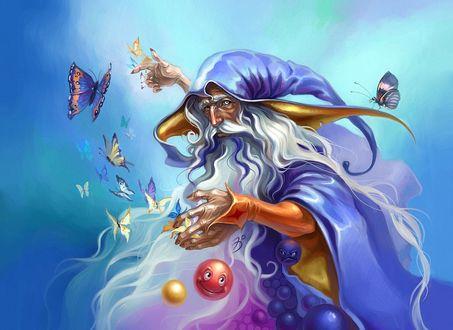 Обои Озорной старик колдун проводит сеанс магии