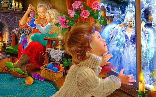 Обои Мальчик Кай прильнул к стеклу окна, увидев Снежную Королеву, в углу комнаты сидит в кресле бабушка с Гердой, которая сидит у нее на коленях и играет куклой, сказка Снежная Королева