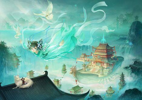 Обои Девушка и летучий корабль парят над крышами домов, на одной из которых сидит парень, облокотившись на огромную белую лису