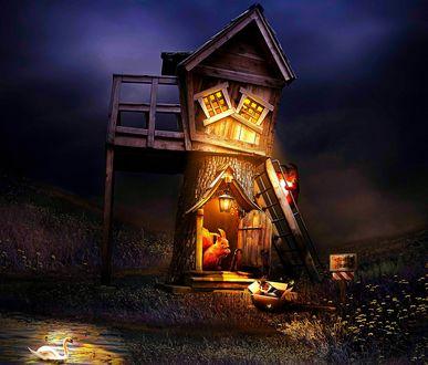 Обои Сказочный двухэтажный домик с освещенными окнами и горящим фонарем, с белками внутри и на лестнице, с кошкой в коробке у входа, с плавающим белым лебедем на пруду и темным ночным небом