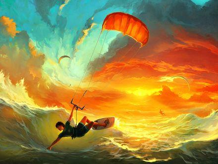 Обои Мужчина скользя по волнам на доске для серфинга, одной рукой держится за стропы парашюта и другой рукой касаясь воды