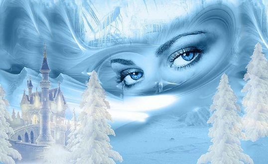 Обои Глаза Снежной королевы на фоне ее замка и заснеженных деревьев