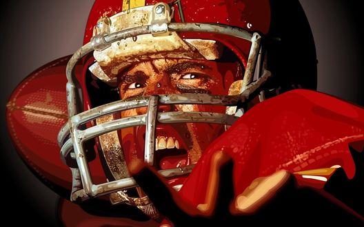 Обои Игрок американского футбола в экипировке с открытым ртом и окровавленным лицом
