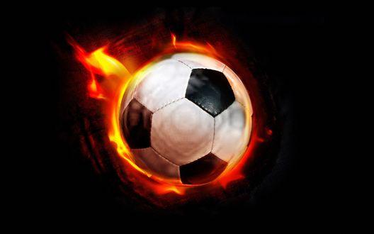Обои Футбольный мяч, объятый пламенем