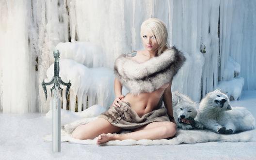 Обои Девушка в меху из шкурок животных сидит на снегу, перед ней в землю воткнут меч, за ее спиной арктические волки грызут добычу