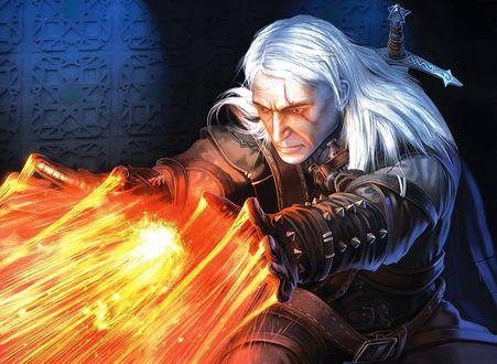 Обои Геральт, легендарный Ведьмак, компьютерная ролевая игра Ведьмак / The Witcher/, поражение огнем