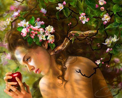 Обои Искушение Евы в раю, змий дал яблоко девушке Еве