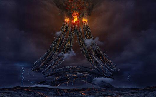 Обои Несколько фантастических извергающихся вулканов, с нависшими над ними грозовыми тучами и молниями