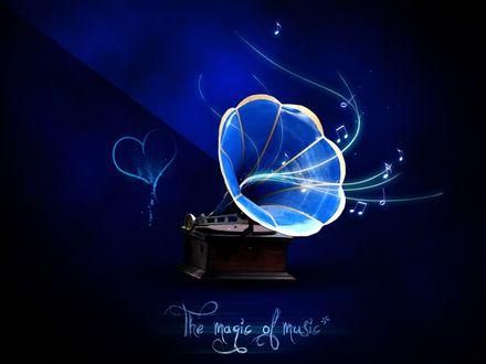 Обои Из трубы старинного граммофона вытекают музыкальные звуки любви с нотными знаками и сердцем / The magic of music/