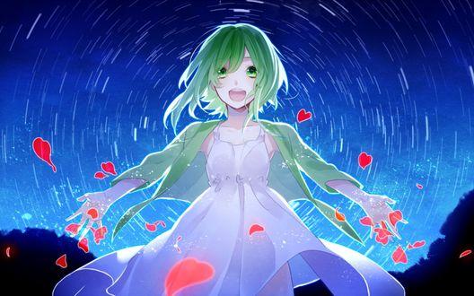 Обои Vocaloid Gumi Megpoid / Вокалоид Гуми Мегпоид окруженная красными лепестками