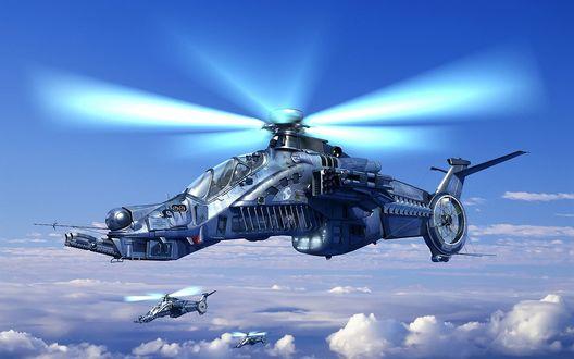 Обои Боевые вертолеты летят в голубом небе выше облаков