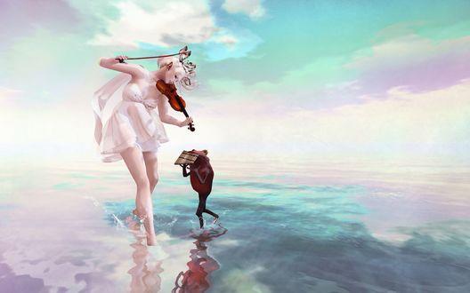 Обои Девушка, стоя в воде, играет на скрипке, а лягушонок подыгрывает ей на флейте кувикле